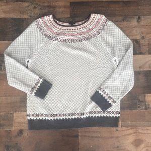 Talbots Fair Isle Crewneck Lambswool Sweater XL